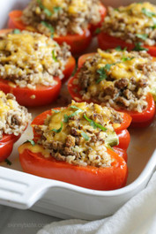 Fiesta Stuffed Peppers with Turkey, Chicken and Quinoa