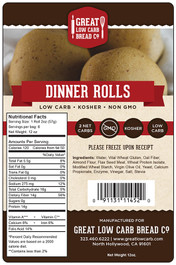 Great Low Carb Dinner Rolls 12oz Bag of 6