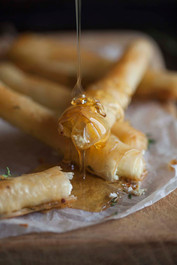 Baked Goat Cheese Cigars with Honey and Thyme