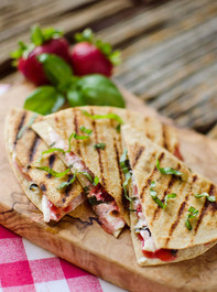 STRAWBERRY BASIL & HONEY GOAT-CHEESE-QUESADILLAS