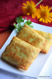 Fried Coconut Crepes with Chicken Filling Crepes