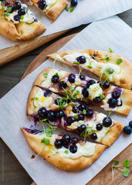 Blueberry, Feta and Honey Caramelized Onion Naan Pizza