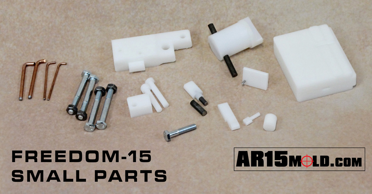 Freedom-15 AR15 100 percent lower receiver mold kit by AR15Mold.com. No Machining Required. Assemble with common AR15 Lower Parts Kits.
