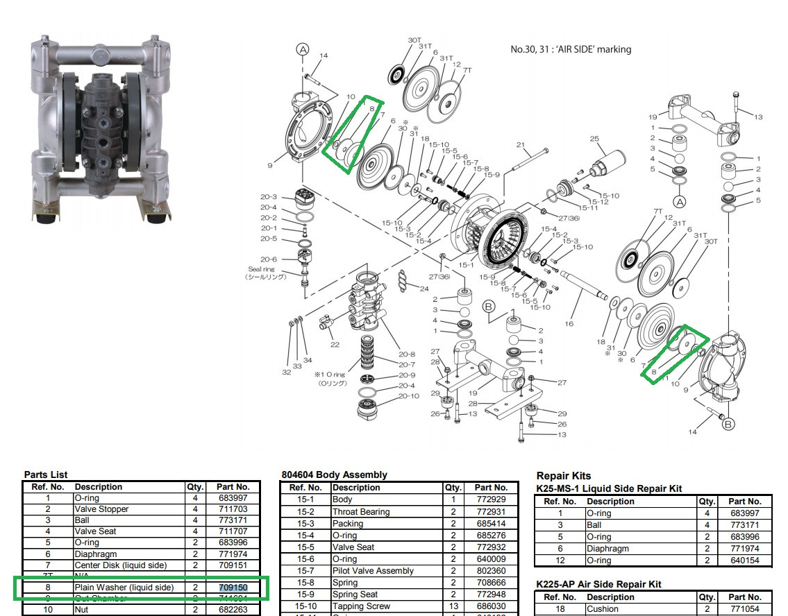 Yamada 709150 Washer 25R for Air Operated Diaphragm Pump