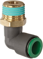 """SMC KRL06-02S KR Flame Resistant Air Fitting, Male Elbow, 6mm, 1/4"""", Pack of 10"""