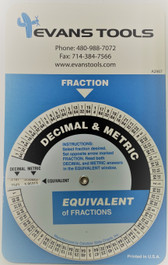 Evans Tools A2967 Fractional Equivalent Chart