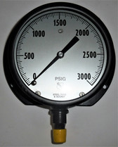 """Ashcroft Unknown Pressure Gauge, 0-3000 PSI, Steel Tube and Socket, 5"""" Face"""