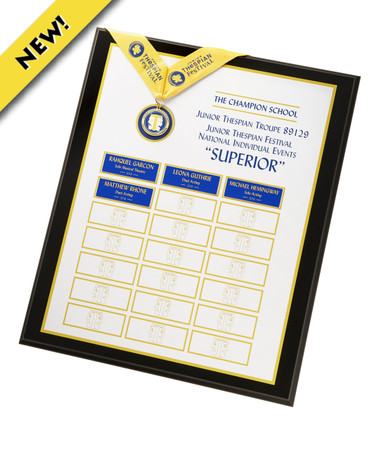 """Earning a rating of SUPERIOR at the national individual events is an extraordinary accomplishment. Honor your students and preserve their legacy with this custom perpetual plaque, featuring the actual SUPERIOR MEDALLION. All heads will turn when this is displayed in your school. 16"""" x 20"""""""