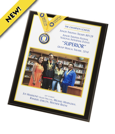 "Celebrate the accomplishments of students who earn the coveted SUPERIOR rating at the national individual events showcase with this custom photo plaque. Your photo is actually printed on the plaque using state-of-the-art technology. The perfect way to immortalize your SUPERIOR group. Manufacturer will contact you directly to receive your photo for the plaque. Plaque is 15"" x 18"". Photo area is 11"" x 7"""