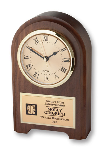 """This solid walnut desk clock is just right when you want to recognize someone very special. This clock displays the ITS icon and up to 6 lines of text with 25 characters per line included. 4.25"""" x 1.25 x 7.5"""". Specify ITS icon color: blue or black."""