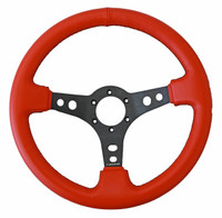 ST-006RR-BS Sport Leather Steerign Wheel Red leather w/ Black Stitching