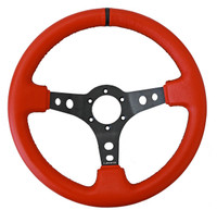 """ST-006RR-BS-Y Sport Steering Wheel (3"""" Deep) Red Leather w/ Black Stitching and black center marking"""