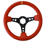 """ST-006RR-YS-Y Sport Steering Wheel (3"""" Deep) Red leather w/ Yellow Stitching and Yellow center marking"""