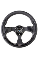 ST-001BK - 320mm Sport Leather Steering Wheel with Black Inserts