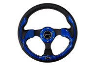 ST-001BL - 320mm Sport Leather Steering Wheel with Blue Inserts