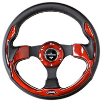 ST-001RD - 320mm Sport Leather Steering Wheel with Red Inserts