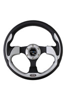 ST-001SL - 320mm Sport Leather Steering Wheel with Silver Inserts