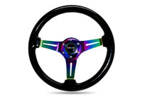 NRG Classic Wood Grain Wheel, 350mm, Black colored wood, 3 spoke center in Neochrome