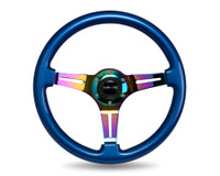 NRG Classic Wood Grain Wheel, 350mm, Blue colored wood, 3 spoke center in Neochrome