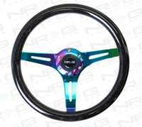 NRG Classic Wood Wheel, 350mm 3 neochrome spokes-Black Sparkled Color Wood Finish.