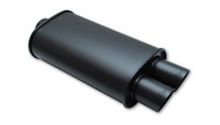 """Vibrant STREETPOWER FLAT BLACK Oval Muffler with Dual Tips (2.5"""" inlet)"""