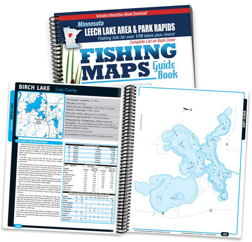 Northern Minnesota Leech Lake Area & Park Rapids Area Fishing Map Guide cover and map page spread