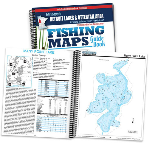 Detroit Lakes & Otter Tail Area Minnesota Fishing Map Guide cover and map page spread