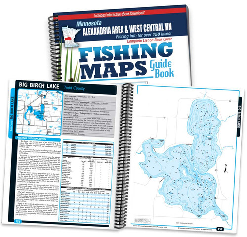 Alexandria Area & West Central Minnesota Fishing Map Guide cover and map page spread