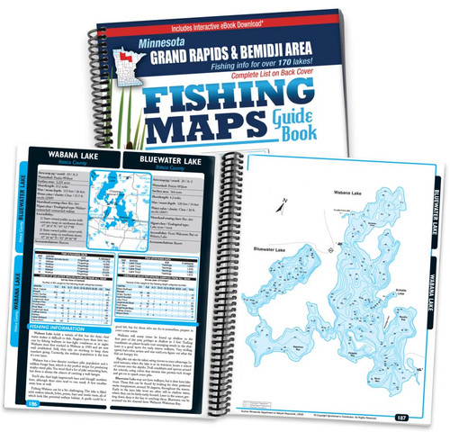Northern Minnesota Grand Rapids & Bemidji Area Fishing Map Guide cover and map page spread