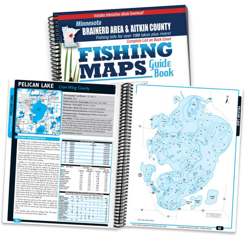 Northern Minnesota Brainerd Area & Aitkin County Fishing Map Guide cover and map page spread