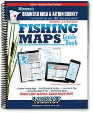 Northern Minnesota Brainerd Area & Aitkin County Fishing Map Guide cover - includes contour lake maps and fishing information for over 150 lakes and rivers