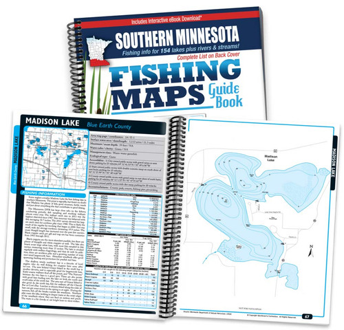 Southern Minnesota Fishing Map Guide cover and map page spread