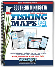 Southern Minnesota Fishing Map Guide cover -  includes contour lake maps and fishing information for over 150 lakes plus trout streams and Mississippi River coverage