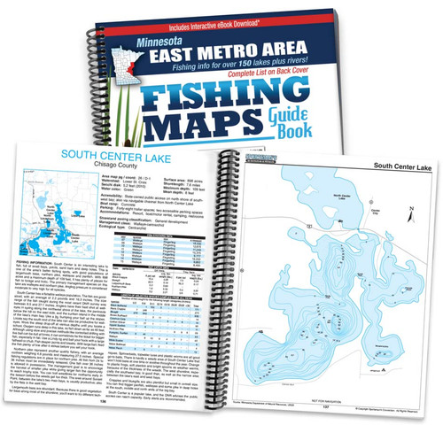 East Metro Area Minnesota Fishing Map Guide cover and page spread