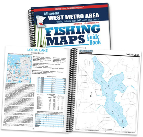 West Metro Area Minnesota Fishing Map Guide cover and map page spread