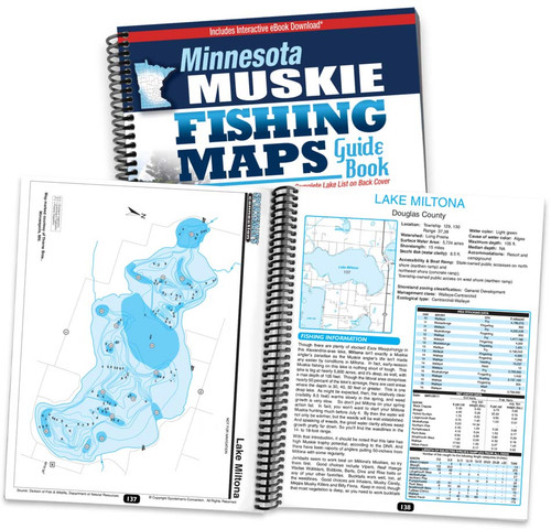 Minnesota Muskie Fishing Map Guide cover and spread
