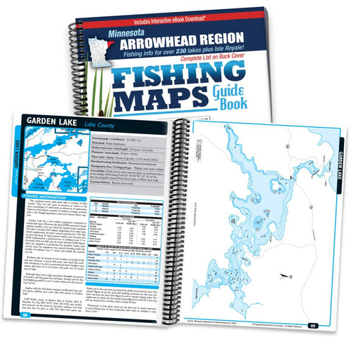 Northern Minnesota Arrowhead Region Fishing Map Guide cover and map page spread