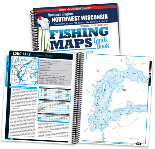 Northwest Wisconsin Northern Region Fishing Map Guide cover and map page spread