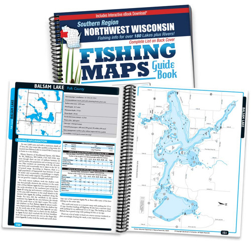 Northwest Wisconsin Southern Region Fishing Map Guide cover and map page spread