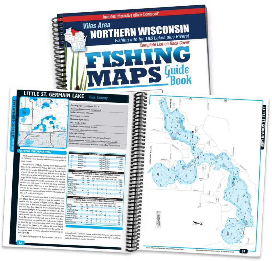 Vilas Area Northern Wisconsin Fishing Map Guide - Print Edition