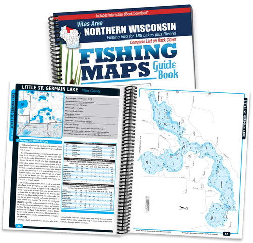 Vilas Area Wisconsin Fishing Map Guide cover and map page spread
