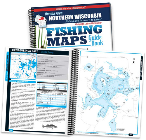 Oneida Area Northern Wisconsin Fishing Map Guide cover and map page spread