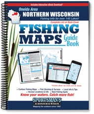 Oneida Area Northern Wisconsin Fishing Map Guide cover - includes contour lake maps and fishing information for over 145 lakes