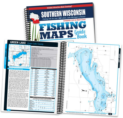 Southern Wisconsin Fishing Map Guide cover and map page spread