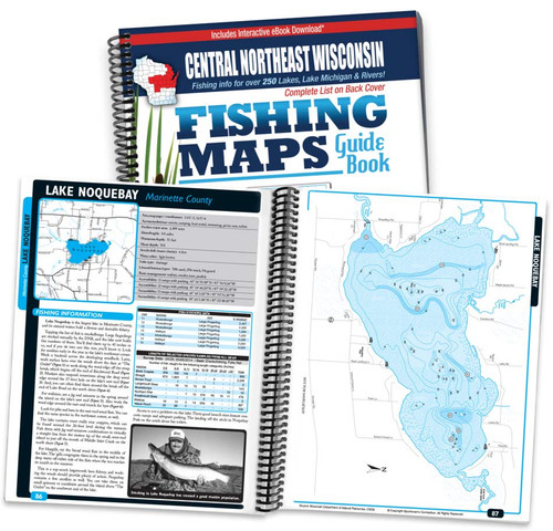 Central-Northeast Wisconsin Fishing Map Guide cover and map page spread