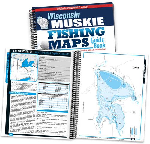 Wisconsin Muskie Fishing Map Guide cover and page spread