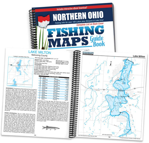 Northern Ohio Fishing Map Guide cover and map page spread