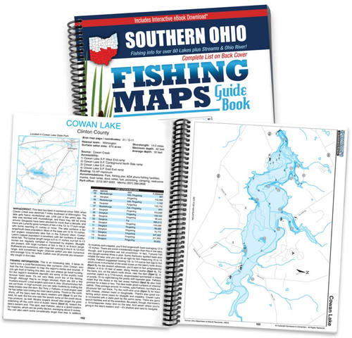Southern Ohio Fishing Map Guide cover and map page spread