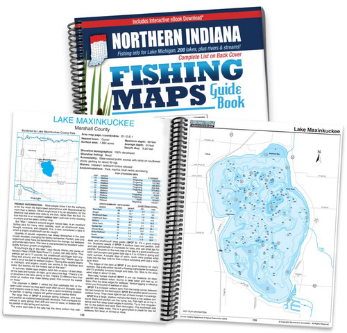 Northern Indiana Fishing Map Guide cover and map page spread