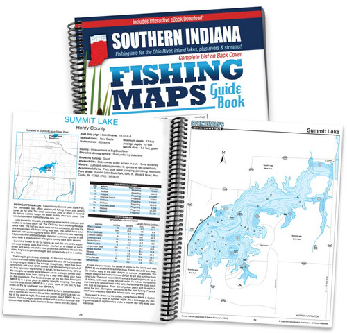 Southern Indiana Fishing Map Guide cover and map page spread